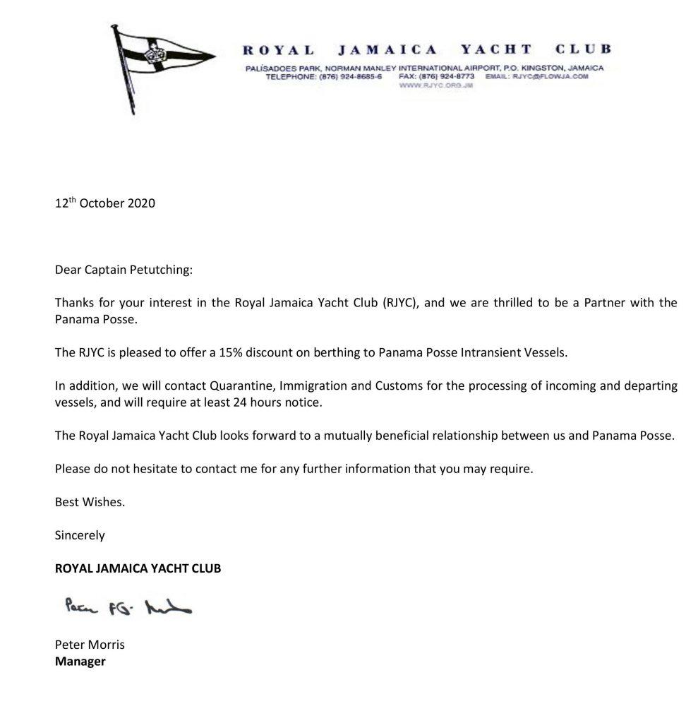 Royal jamaica Yacht Club Sponsors the Panama Posse