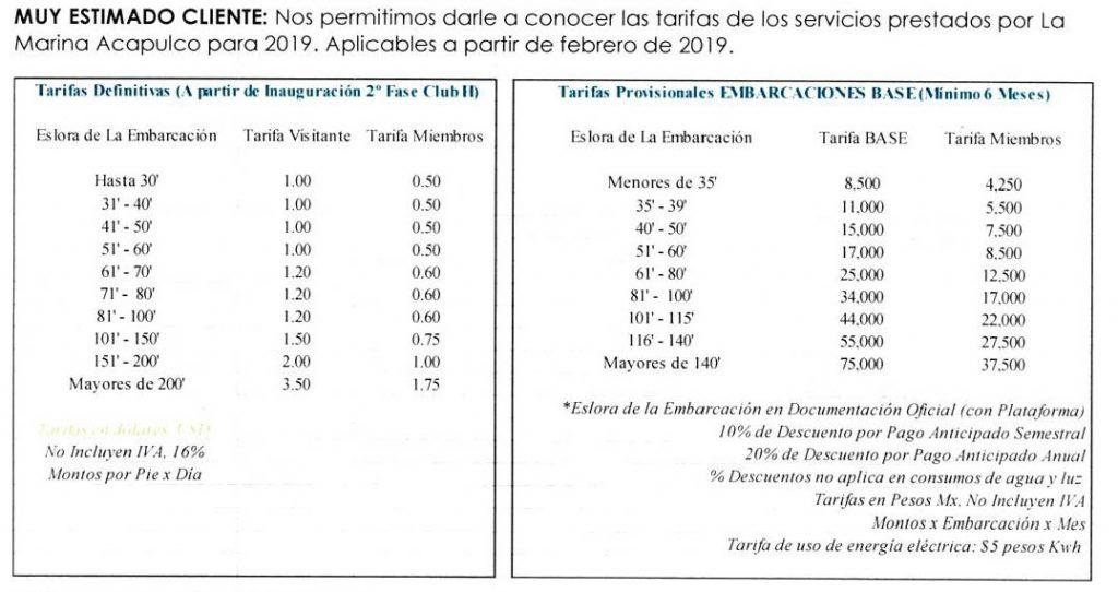LA Marina de Acapulco base Rates