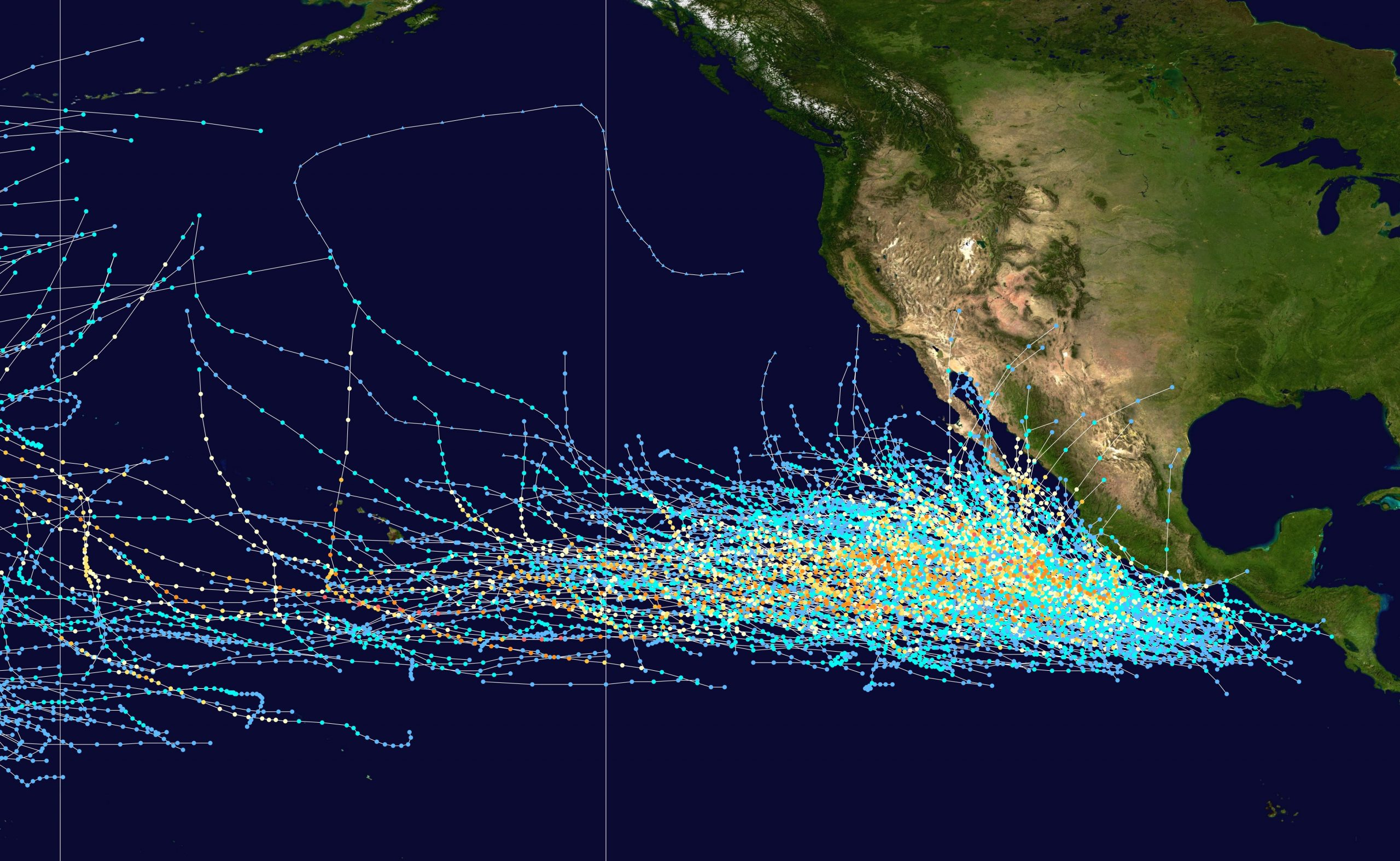 Pacific hurricane tracks 1980-2005
