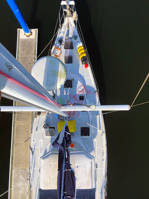 vessel on dock from above