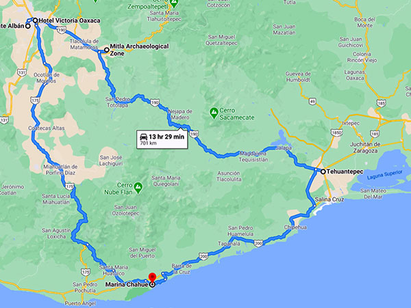 ia route 175 to get to Oaxaca from Marina Chahue - on the way back take route 190 via Mitla and the Mexcal epicenter of Oaxaca.
