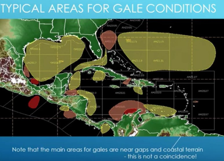 FOCUS ON WEATHER typical areas for gale conditions