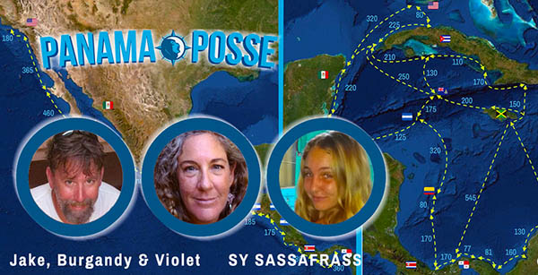 Sassafrass showing off the Panama Posse burgee
