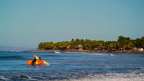 Going for that surf brake in Nicaragua