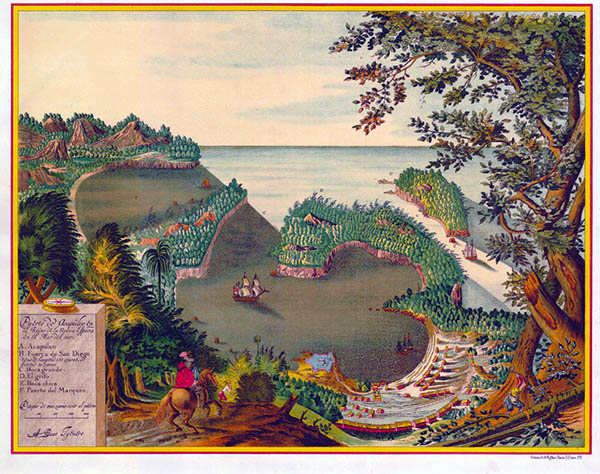 Historic drawing of the bay of Acapulco, MX