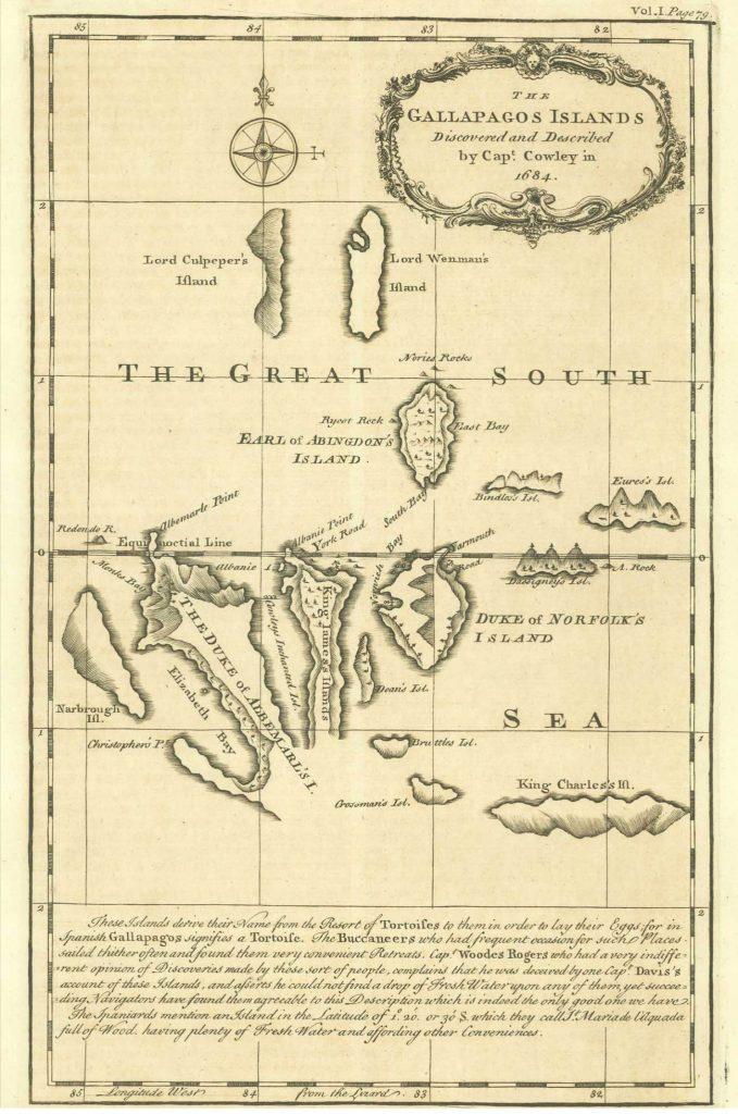 Galápagos Islands original chart by buccaneer Ambrose Cowley