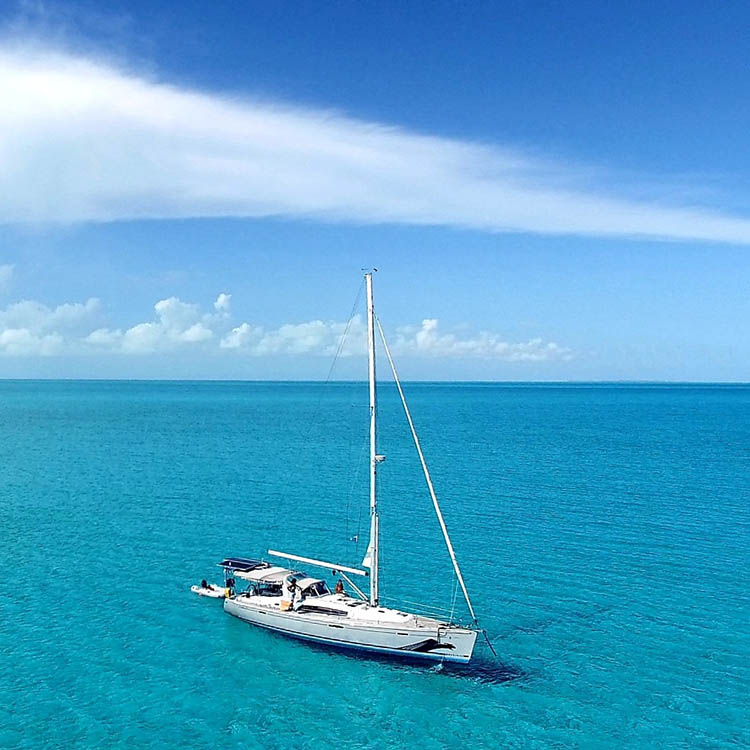 Gargoyle anchored in 9' off Six Hill Cay, Turks and Caicos