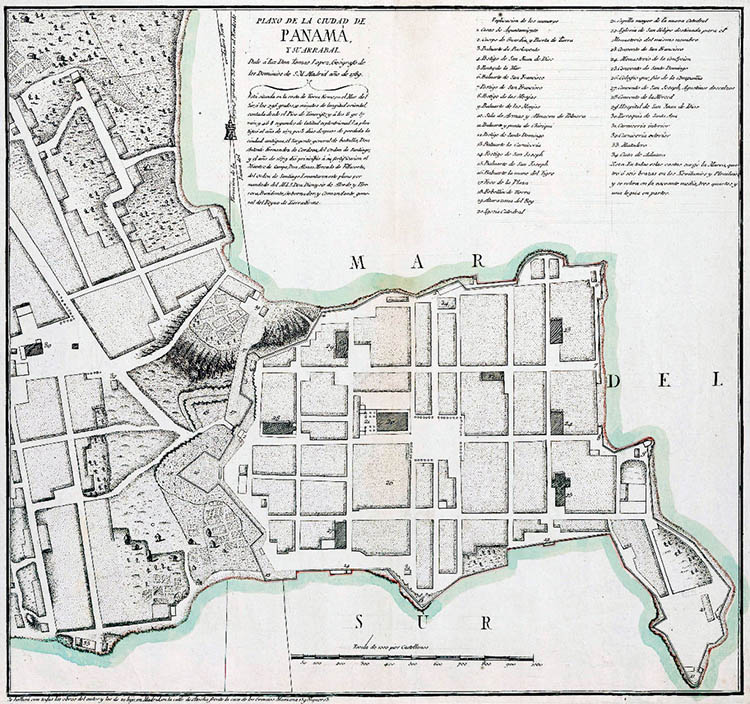 Old map of Casco Viejo