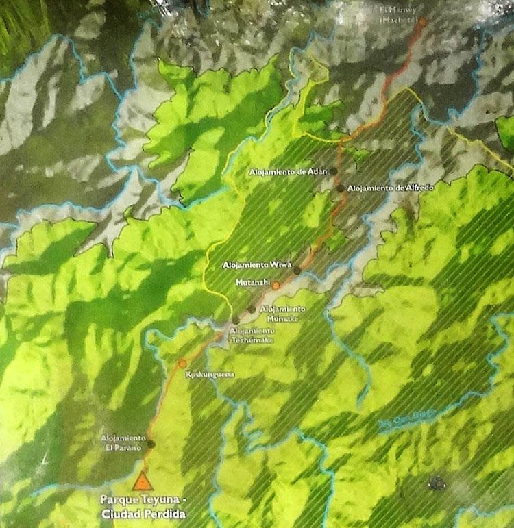 Map of the multiday day trek to Ciudad Perdida