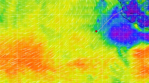 As of today Seaglub is about to hit the milk run zone of following winds - to be eventually vollowed by the doldrums and ITCZ ( Intertropical Converg