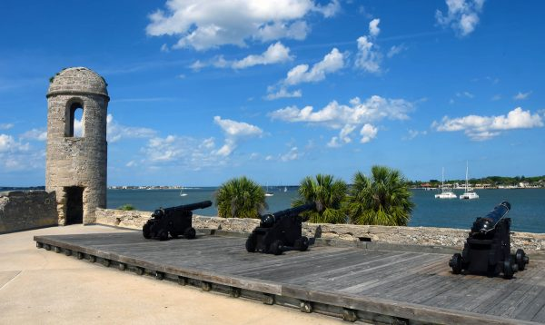 On top of the canons is the Spanish Coat of Arms Castillo de San Marcos