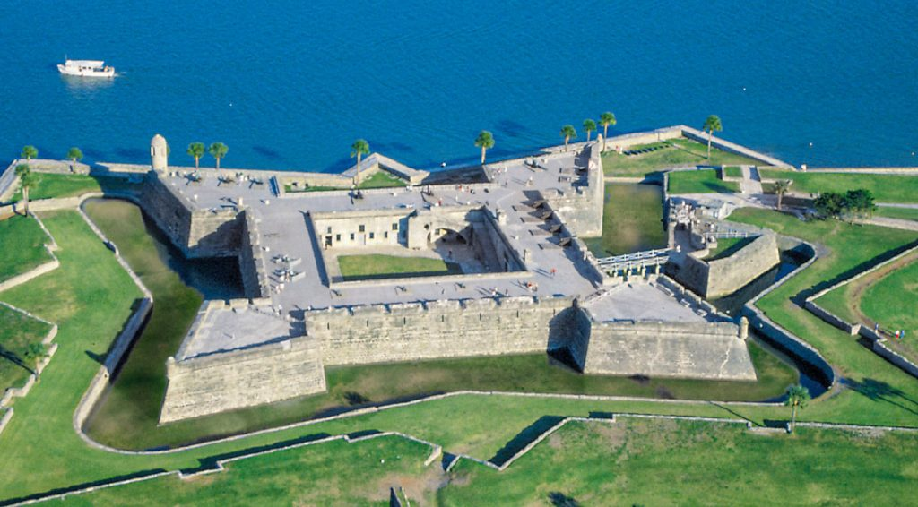 The Castillo de San Marcos is the oldest masonry fort in the continental United Statesand is located on the western shore of Matanzas Bay in the city of St. Augustine, Florida. The Castillo was designed by the Spanish engineer Ignacio Daza and construction begn in 1672, 107 years after the city's founding by Spanish Admiral and conquistador Pedro Menéndez de Avilés, when Florida was part of the Spanish Empire.