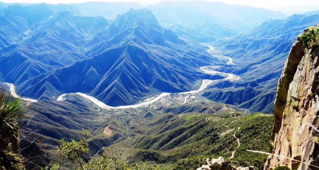 is a group of six distinct canyons in the Sierra Madre Occidental in the southwestern part of the state of Chihuahua in northwestern Mexico that is 65,000 square kilometres (25,000 sq mi) in size. The canyons were formed by six rivers that drain the western side of the Sierra Tarahumara (a part of the Sierra Madre Occidental). All six rivers merge into the Rio Fuerte and empty into the Gulf of California. The walls of the canyon[1] are a copper/green color, which is the origin of the name.