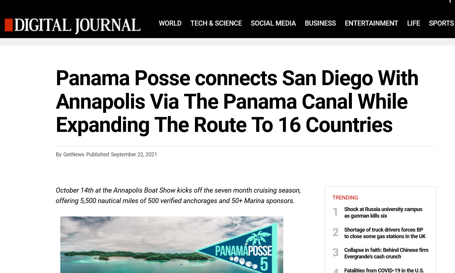 WORLD TECH & SCIENCE SOCIAL MEDIA BUSINESS ENTERTAINMENT LIFE SPORTS Read more: https://www.getnews.info/1166008/panama-posse-connects-san-diego-with-annapolis-via-the-panama-canal-while-expanding-the-route-to-16-countries.html
