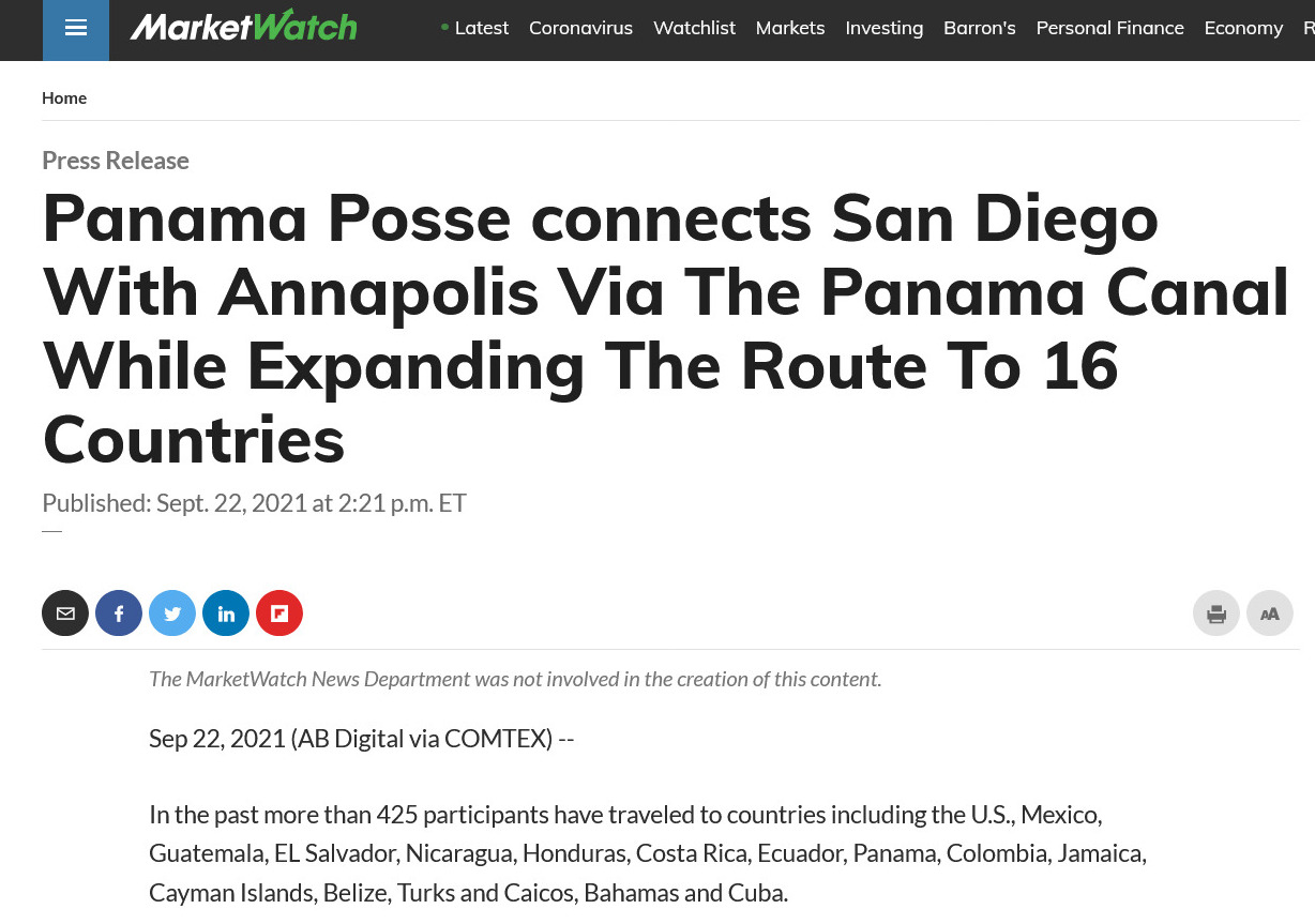The MarketWatch News Department https://www.marketwatch.com/press-release/panama-posse-connects-san-diego-with-annapolis-via-the-panama-canal-while-expanding-the-route-to-16-countries-2021-09-22